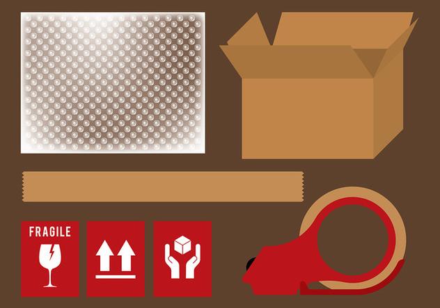 Bubble Wrap Shipping Set Vector - Free vector #394647