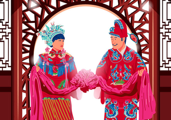 Traditional Chinese Wedding Vector - Free vector #394987