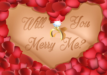 Love Shape Of Petals With Ring In The Middle Wedding Proposal - vector gratuit #395237