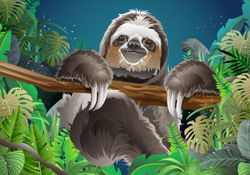 Relaxing Sloth Vector - бесплатный vector #395267