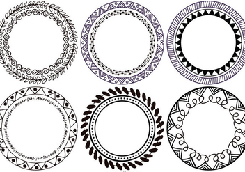 Cute Hand Drawn Boho Style vector Frames - Free vector #395637