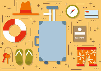 Flat Summer Travel Elements Vector - бесплатный vector #395807