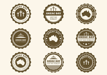 Vintage Anzac Badges Vector - бесплатный vector #396017