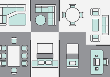 Architecture Plans Furniture Icons - Free vector #396027