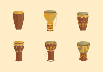 Taditional conga music instrument flat design - vector gratuit #396427