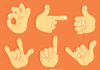 Hand Gesture Collection Vector Set - Free vector #396747