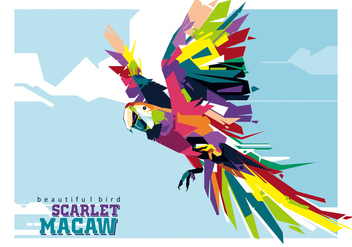 The Colorful Scarlet Macaw in Popart - vector gratuit #396817