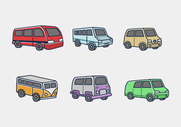 Minibus colored icon vector pack - Free vector #396877