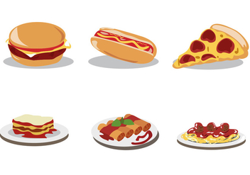 Delicious Food Vector Set - vector gratuit(e) #397267