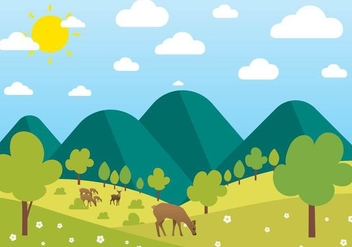 Free Beautiful Vector Landscape - Free vector #397487