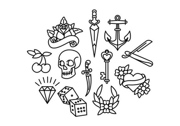 Old School Tattoo Vectors - Free vector #398167