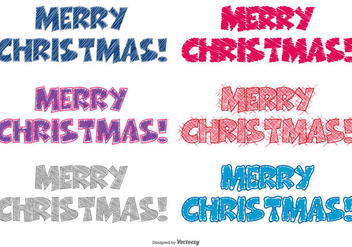 Scribble Style Merry Christmas Lettering - vector #398767 gratis