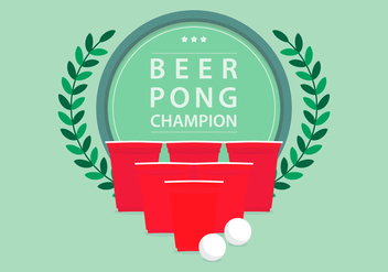 Beer Pong Champion Tournament Logo Illustration - Free vector #398827