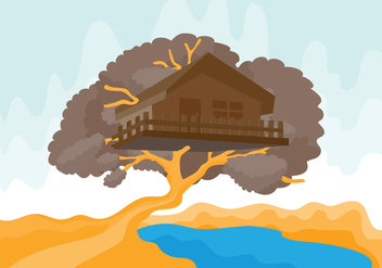 Tree House with River Vector Illustration - Free vector #398917