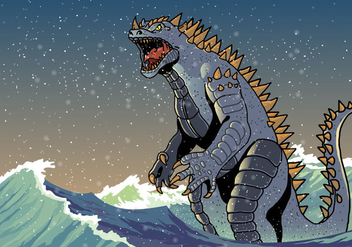 Angry Godzilla in Waves Vector - Free vector #399117