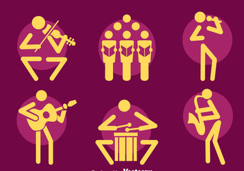 Musician Icons Vector Set - Free vector #400297