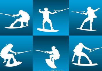 Water Skiing Silhouette Vector Set - бесплатный vector #400357
