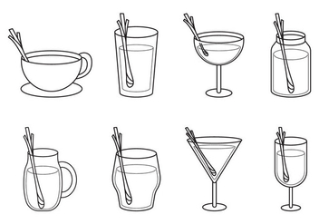 Free Drinking Glass With Lemongrass Vector - vector gratuit #400837