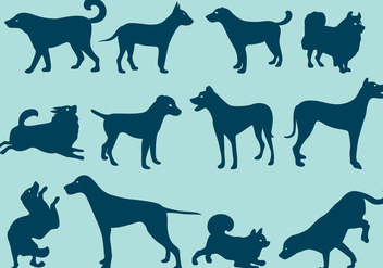 Blue Dog Silhouettes - Free vector #401087