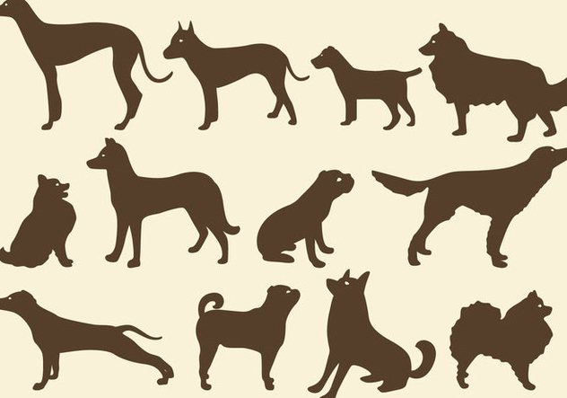 Sepia Dog Silhouettes - Free vector #401107