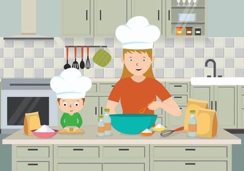 Free Mom And Child Cooking Illustration - бесплатный vector #401167