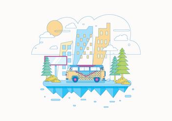 Hippie Bus Landscape Vector - Kostenloses vector #401577
