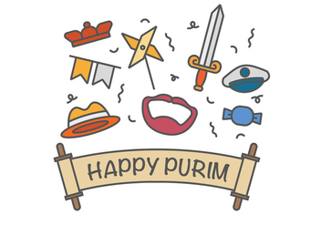 Happy purim vector icons - vector gratuit #401987