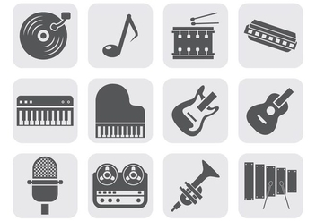Free Music Instrument Equipment Icons Vector - vector gratuit #402737