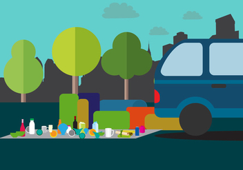 Carboot Illustration Sale Background - Free vector #402937