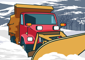 Snow Plow Truck Cleaning Snow - Free vector #403007