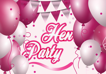 Hen Party With Pink And White Balloon Illustration - Free vector #403027
