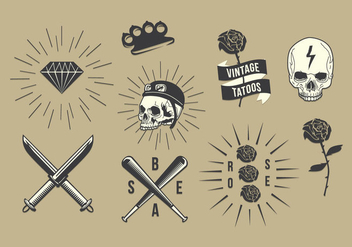 Free Old School Tattoo Vector Set - Free vector #403177