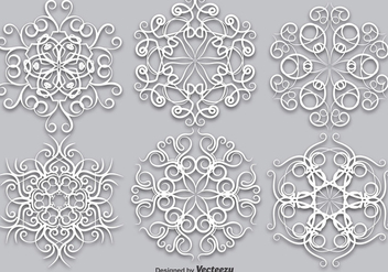 Vector Set Of Elegant White Snowflakes - Vector - Free vector #403617