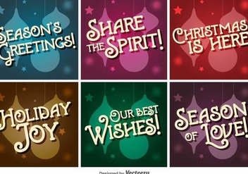 Retro Christmas Vector Letterings - Free vector #403647