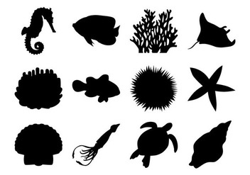 Free Sea Life Silhouettes Vector - Free vector #403837