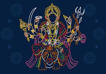 Goddess Durga Line Art - vector gratuit(e) #403947