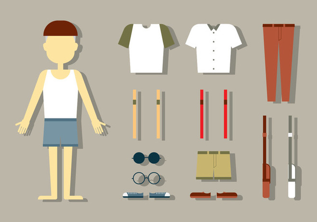 Male Doll Fashion Vectors - бесплатный vector #404797
