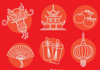 China Culture Element Icons Vector - бесплатный vector #405087