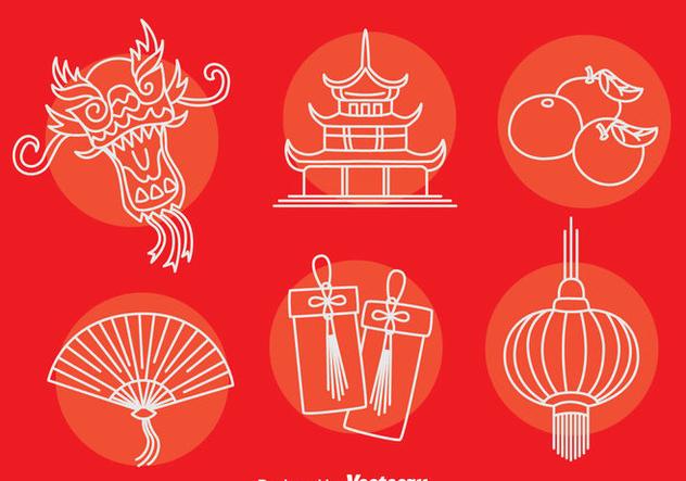 China Culture Element Icons Vector - vector gratuit(e) #405087