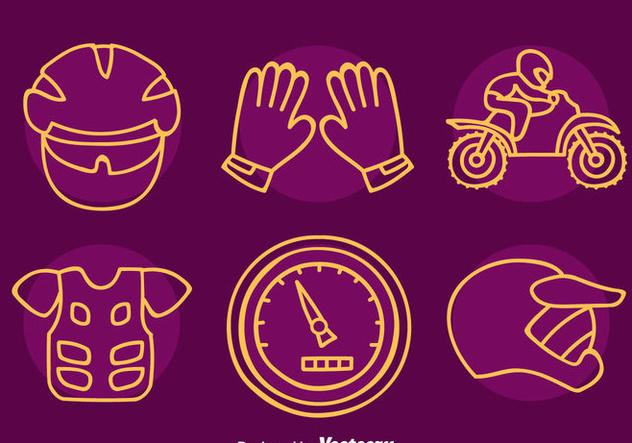 Motocross Element Line Icons Vector - vector gratuit(e) #405097