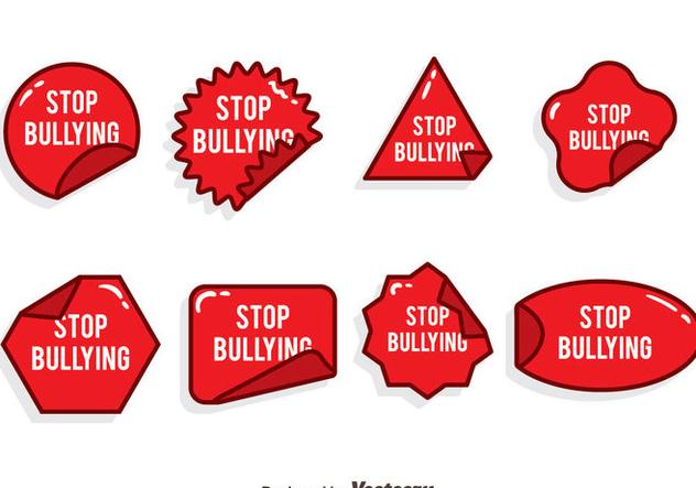 Stop Bullying Red Sticker Vector Set - vector gratuit(e) #405117