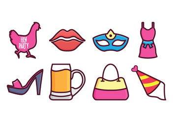 Free Hen Party Icon Set - vector #405387 gratis