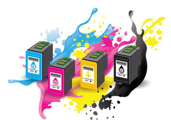 Ink Cartridge Vector with Ink Splatter Background - vector #405657 gratis