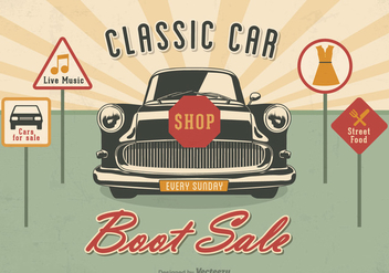 Free Classic Car Boot Sale Vector Poster - бесплатный vector #405727