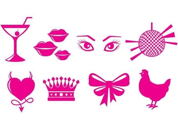 Hen Party Icons - vector #406297 gratis