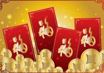 Coins And Red Chineese New Year Money Packet Design - Free vector #406387