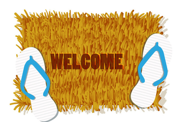 Illustration Of Welcome Mat With Pair Of Sandal - vector gratuit #406497