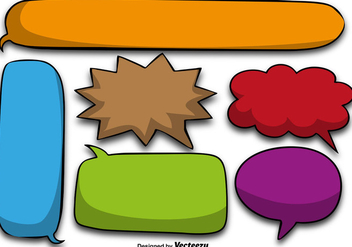 Colorful Cartoon Speech Bubbles - Vector - Kostenloses vector #406587