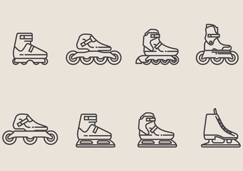 Roller Blade Icon Set - vector gratuit(e) #406797