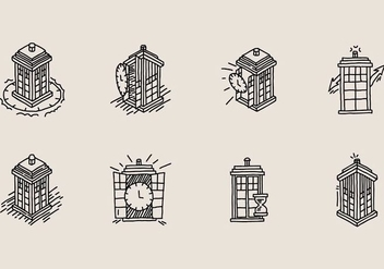 Hand Drawn Vector Tardis Icon - Free vector #406867